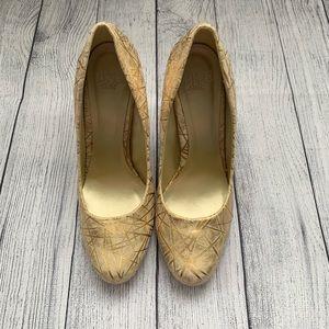 Cream and gold round toe pumps